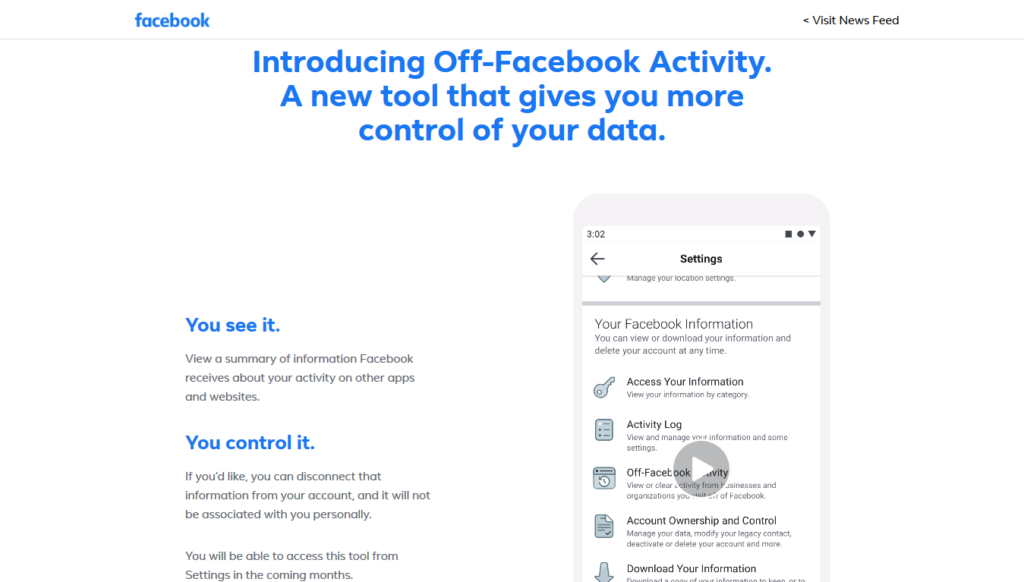 Off-Facebook Activity Tool Datenschutz